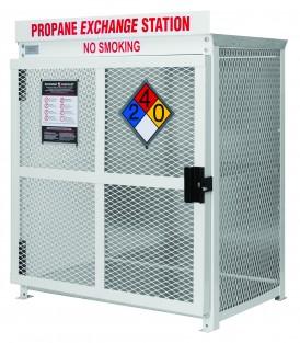 Twelve cylinder exchange cage for 20 pound propane tanks.