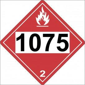 DOT Label Propane 1075 propane sign. Propane sign for DOT propane warning 1075.