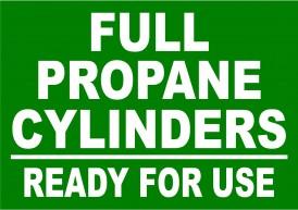Full Propane Cylinder Warning Label. Propane Full tank warning sign.